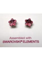 Biojoux Orecchini Cristallo Swarovski Fiore Rosa 6 mm